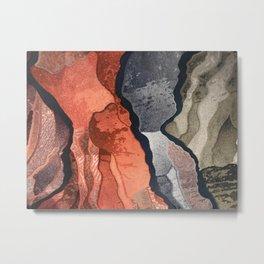 Cool Gray, Tan and Red Patterns Metal Print
