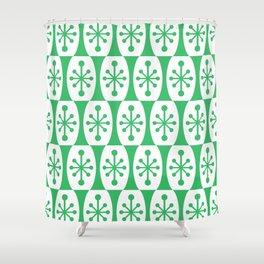 Mid Century Modern Atomic Fusion Pattern Green Shower Curtain