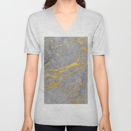 Grey Marble and Gold Unisex V-Neck