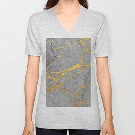 Grey Marble and Gold Unisex V-Neck