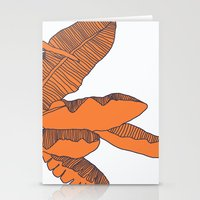 banana leaf Stationery Cards featuring Banana Leaf Print by Home by Bear