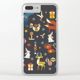 Christmas symbols pattern Clear iPhone Case