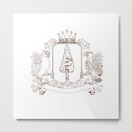 Owl and Hawk Redwood Crown Crest Drawing Metal Print