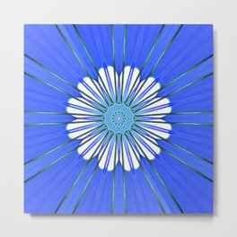 White abstract flower with starburst rays forming an ornate center pattern in a blue universe  Metal Print