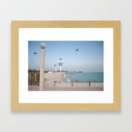 Kuwait Shoreline/ Towers Framed Art Print