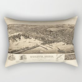 Perspective Map of the City of Duluth, Minnesota (1893) Rectangular Pillow
