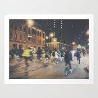 Late Night Bike Ride Art Print