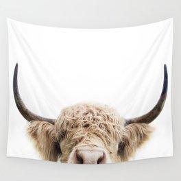Peeking Highland Cow Wall Tapestry