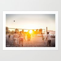 volleyball Art Prints featuring Sunset Volleyball by MJ Blanchet