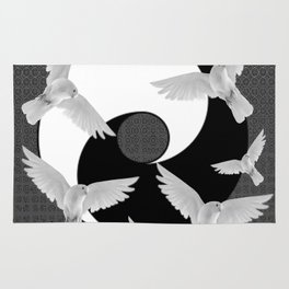 B&W  YIN & YANG Taoism/Daoism PEACE DOVES Rug