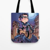 nightwing Tote Bags featuring Lil' Nightwing by J Skipper