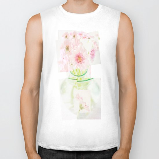 Collage Love - Inspired by David Hockney - Pink Gerberas  Biker Tank