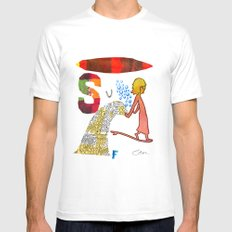 Surf MEDIUM White Mens Fitted Tee