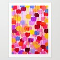 DOTTY in Pink - October Special Revisited Bold Colorful Square Polka Dots Original Abstract Painting by ebiemporium