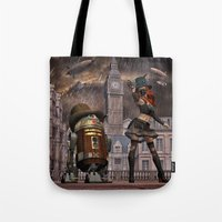 sci fi Tote Bags featuring Steampunk Sci-Fi 2 by gypsykissphotography