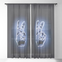 Peace Sign Hand Neon Sign Sheer Curtain