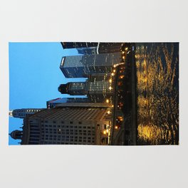Chicago River and Buildings at Dusk Color Photo Rug
