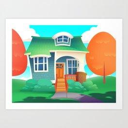 Fun Cartoon House Art Print