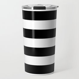 Black White Stripe Minimalist Travel Mug