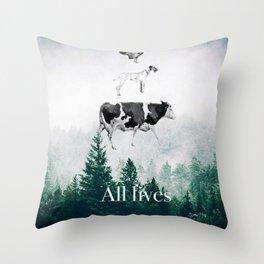 All lives matter go vegan Throw Pillow