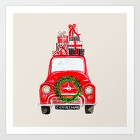 craftberrybush Art Prints featuring Red Christmas Car  by craftberrybush
