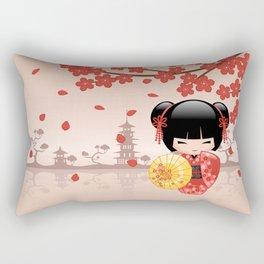 Japanese Red Sakura Kokeshi Doll Rectangular Pillow