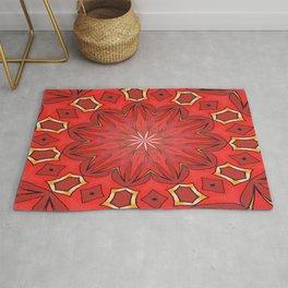 Christmas Red Bold Kaleidoscope Pattern Mandala Rug