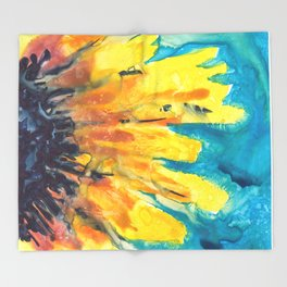 Free Flowing Sunflower Throw Blanket