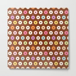 Kawaii Donuts Pattern on Brown Metal Print