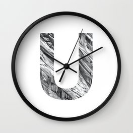 The Letter U- Stone Texture Wall Clock