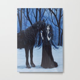 Midnight Travelers Gothic Fairy and Unicorn Metal Print