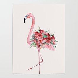 Flamingo Floral Poster