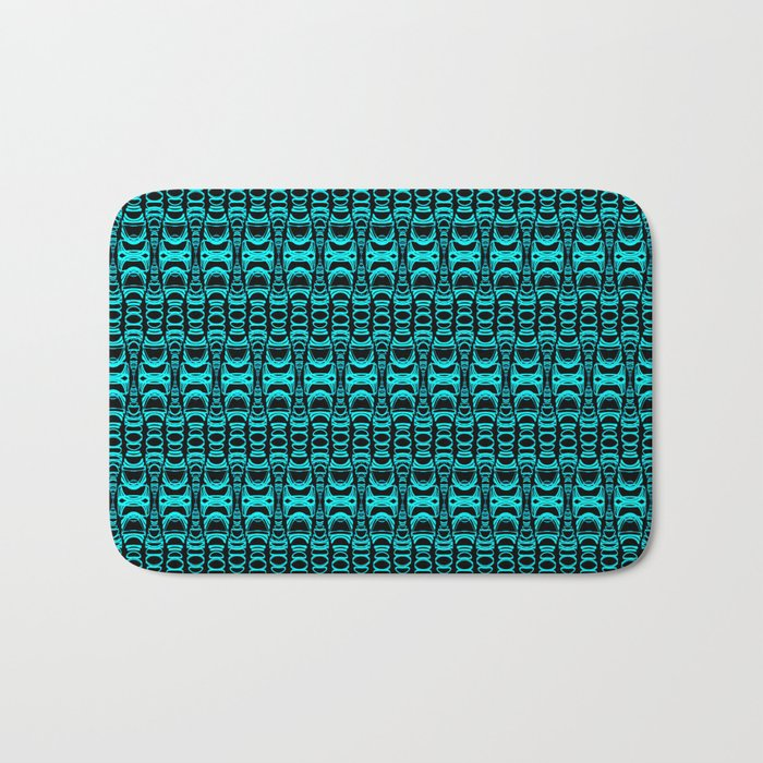Abstract Pattern Dividers 07 in Turquoise Black Bath Mat