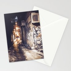Lower East Side - Midnight Warmth on a Snowy Night Stationery Cards