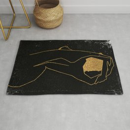 Gold Glitter Nude in One Line Rug