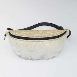 Modern faux gold glitter white marble color block Fanny Pack