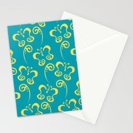 Yellow and Aqua Butterfly and Scroll Pattern 2021 Color Of The Year Illuminating & Peacock Blue Stationery Cards