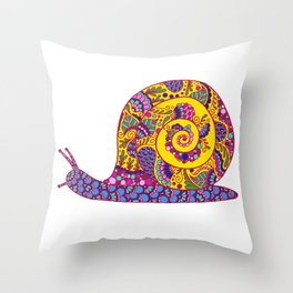 Colorful Snail Throw Pillow