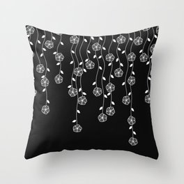 Hanging garden, floral design in black and white, nature print Throw Pillow