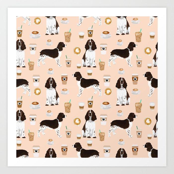 0dd743cceffbe English Springer Spaniel coffee lover dog breed pet portraits custom dog  gifts Art Print by petfriendly