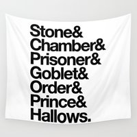 deathly hallows Wall Tapestries featuring Stone & Chamber & Prisoner & Goblet & Order & Prince & Hallows by Directapparelco