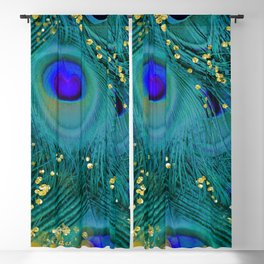 Teal Peacock Feathers Blackout Curtain