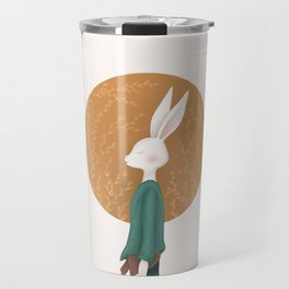 Hare on the backdrop of flowers Travel Mug