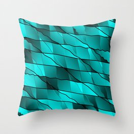Mirrored gradient shards of curved light blue intersecting ribbons and horizontal lines. Throw Pillow