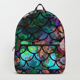 Abstract Black Fish Scales Pattern Backpack