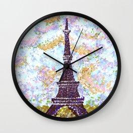Eiffel Tower Pointillism by Kristie Hubler Wall Clock