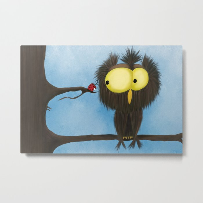 Oliver the Owl and his Visitor Metal Print
