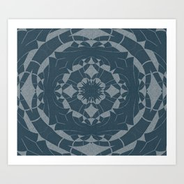 Denim Indigo Mandala Art Print