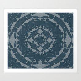 Denim Indigo Mandala Art Print