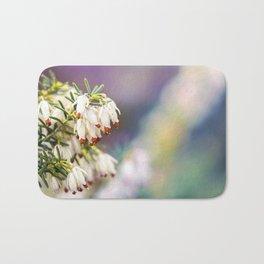 White Heather Flower Bath Mat